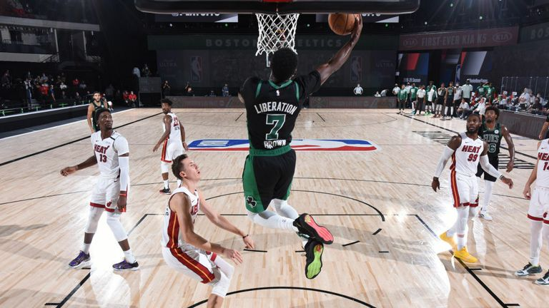 Jaylen Brown #7 of the Boston Celtics shoots the ball against the Miami Heat during Game Five of the Eastern Conference Finals of the NBA Playoffs on September 25, 2020 at AdventHealth Arena in Orlando, Florida.