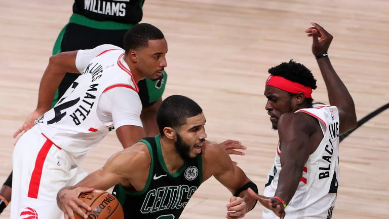 Jayson Tatum #0 of the Boston Celtics drives the ball against Pascal Siakam #43 of the Toronto Raptors during the fourth quarter in Game Seven of the Eastern Conference Second Round during the 2020 NBA Playoffs at AdventHealth Arena at the ESPN Wide World Of Sports Complex on September 11, 2020 in Lake Buena Vista, Florida.