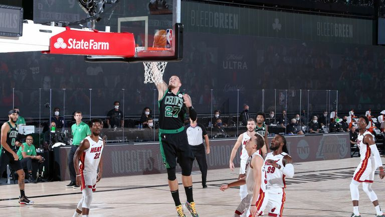 Daniel Theis #27 of the Boston Celtics dunks the ball during the game against the Miami Heat during Game Two of the Eastern Conference Finals of the NBA Playoffs on September 17, 2020 at The AdventHealth Arena at ESPN Wide World Of Sports Complex in Orlando, Florida