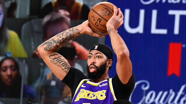 Anthony Davis #3 of the Los Angeles Lakers handles the ball during the game against the Denver Nuggets during Game Five of the Western Conference Finals of the NBA Playoffs on September 26, 2020 at The AdventHealth Arena at ESPN Wide World Of Sports Complex in Orlando, Florida.