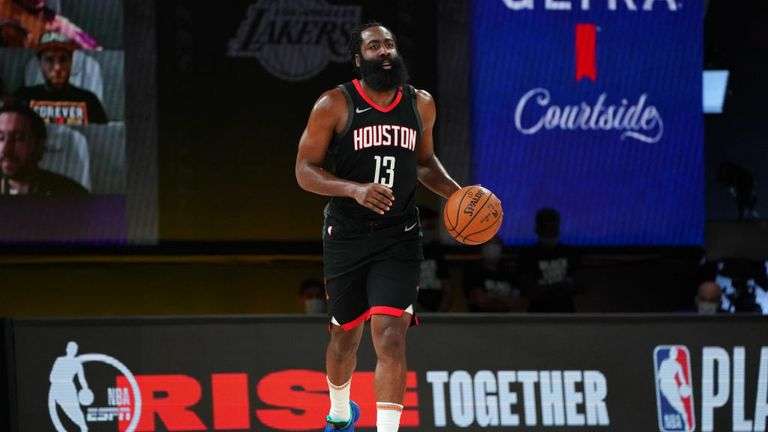 James Harden #13 of the Houston Rockets brings the ball up court against the Los Angeles Lakers during Game Five of the Western Conference SemiFinals of the NBA Playoffs on September 12, 2020 at AdventHealth Arena in Orlando, Florida.