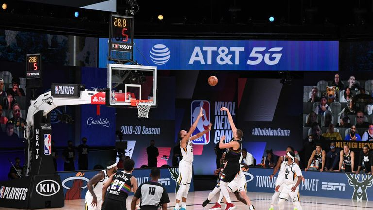 Nikola Jokic #15 of the Denver Nuggets shoots the ball to win the game against the Utah Jazz during Round One, Game Seven of the NBA Playoffs on September 1, 2020 at the AdventHealth Arena at ESPN Wide World Of Sports Complex in Orlando, Florida.