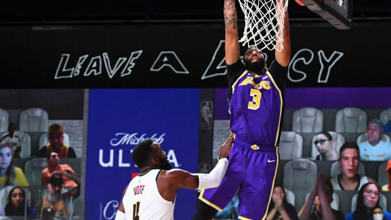 Anthony Davis #3 of the Los Angeles Lakers drives to the basket during the game against the Denver Nuggets during Game Five of the Western Conference Finals of the NBA Playoffs on September 26, 2020 at The AdventHealth Arena at ESPN Wide World Of Sports Complex in Orlando, Florida.