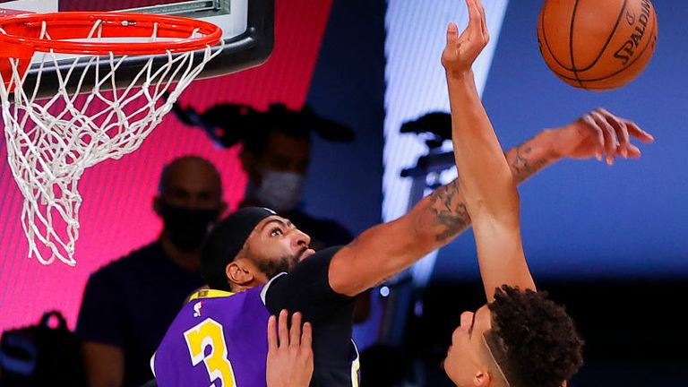 Anthony Davis #3 of the Los Angeles Lakers defends against Michael Porter Jr. #1 of the Denver Nuggets during the fourth quarter in Game Five of the Western Conference Finals during the 2020 NBA Playoffs at AdventHealth Arena at the ESPN Wide World Of Sports Complex on September 26, 2020 in Lake Buena Vista, Florida.