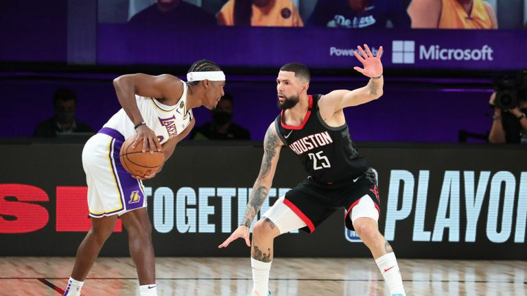 Austin Rivers #25 of the Houston Rockets plays defense against the Los Angeles Lakers during Game Five of the Western Conference SemiFinals of the NBA Playoffs on September 12, 2020 at AdventHealth Arena in Orlando, Florida.