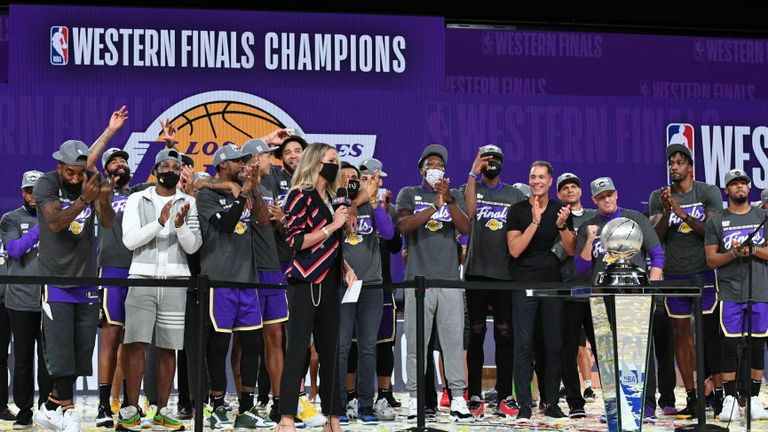 The Los Angeles Lakers celebrate after winning Game Five of the Western Conference Finals against the Denver Nuggets on September 26, 2020 in Orlando, Florida at AdventHealth Arena.