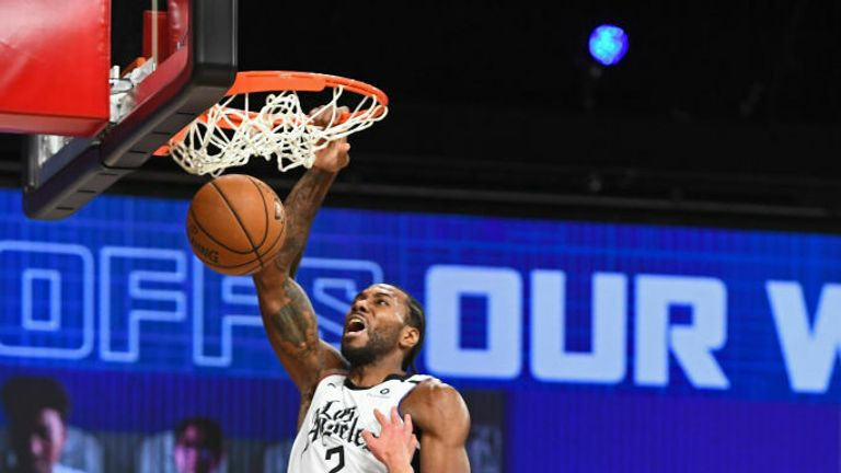 Kawhi Leonard #2 of the LA Clippers dunks the ball against the Denver Nuggets during Game Five of the Western Conference Semifinals of the NBA Playoffs on September 11, 2020 in Orlando, Florida at The Field House.