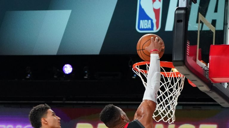 Russell Westbrook #0 of the Houston Rockets dunks the ball against the Los Angeles Lakers during Game Five of the Western Conference SemiFinals of the NBA Playoffs on September 12, 2020 at AdventHealth Arena in Orlando, Florida.