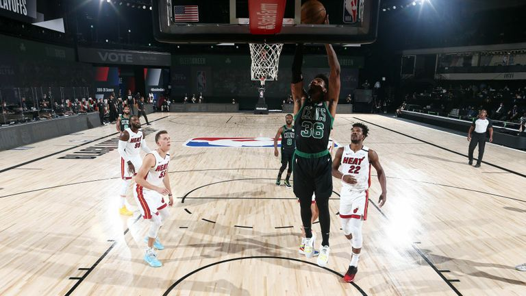 Marcus Smart #36 of the Boston Celtics drives to the basket during the game against the Miami Heat during Game Two of the Eastern Conference Finals of the NBA Playoffs on September 17, 2020 at The AdventHealth Arena at ESPN Wide World Of Sports Complex in Orlando, Florida.