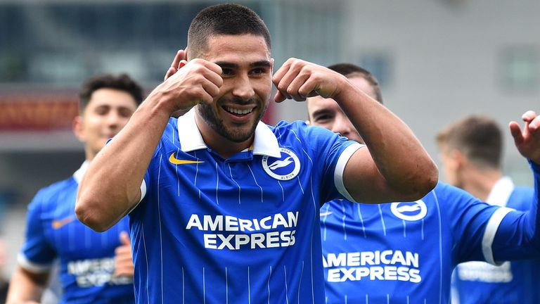 Neal Maupay celebrates putting Brighton in front