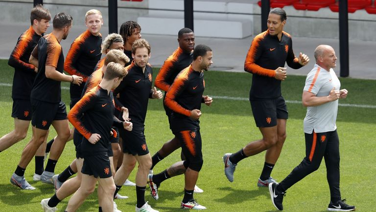 Rene Wormhoudt leads the Netherlands national team during a training session