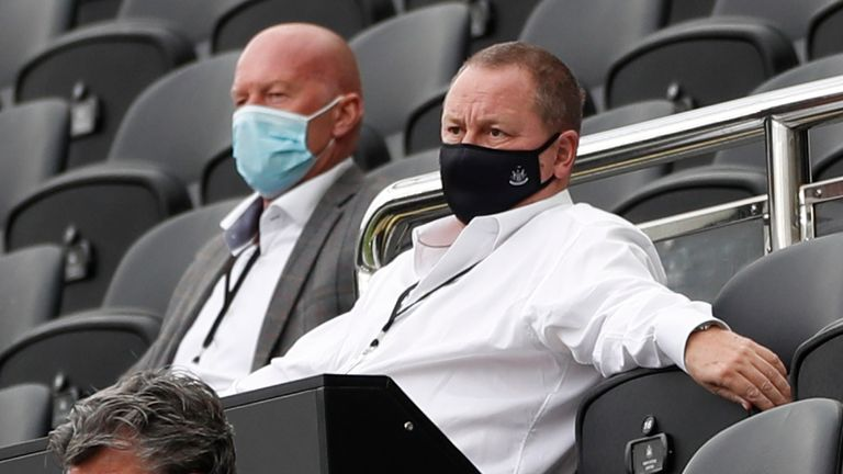 Newcastle United owner Mike Ashley watches the team in Premier League action vs Brighton