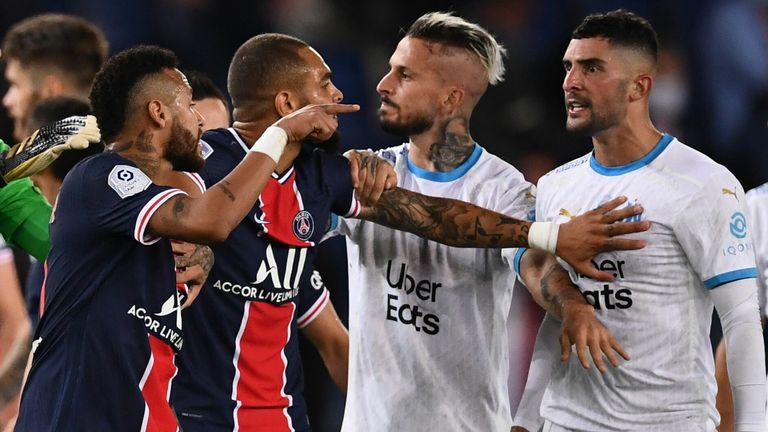 The Ligue 1 match between Paris Saint-Germain and Marseille ended in a mass brawl