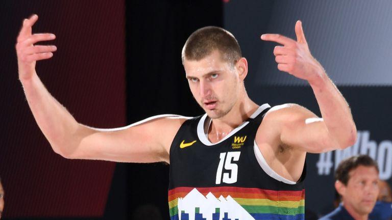 Nikola Jokic celebrates a basket during the Denver Nuggets' Game 7 win over the Utah Jazz