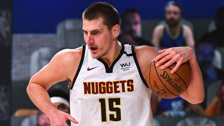 Nikola Jokic corrals a rebound during the Nuggets' Game 7 win over the Clippers