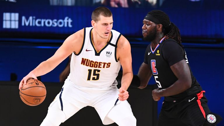 Nikola Jokic of the Denver Nuggets handles the ball against the LA Clippers during Game Two of the Western Conference Semifinals