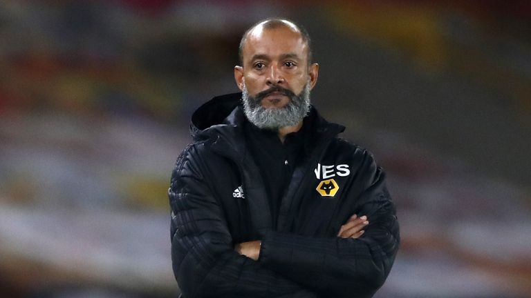 Wolves boss Nuno Espirito Santo watches on from the touchline