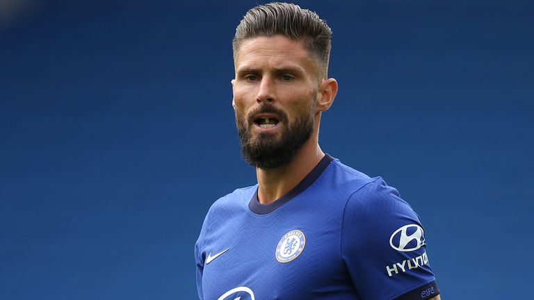 Olivier Giroud in action for Chelsea during a pre-season friendly against Brighton