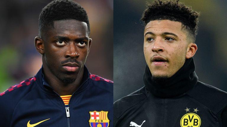 Barcelona forward Ousmane Dembele and Dortmund winger Jadon Sancho