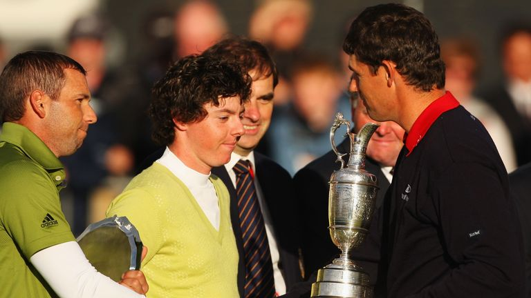 Padraig Harrington with Rory McIlroy (low amateur) and runner-up Sergio Garcia in 2007