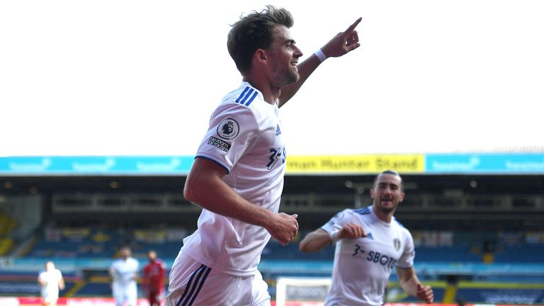 Patrick Bamford celebrates after making it 3-1 to Leeds