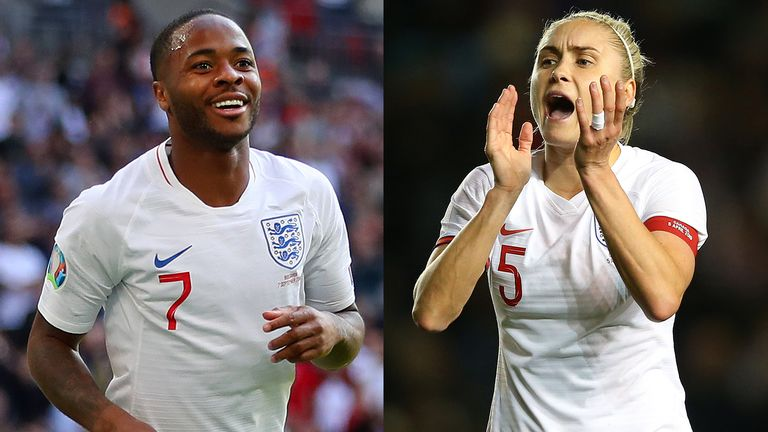 England's Raheem Sterling and England Women's Steph Houghton
