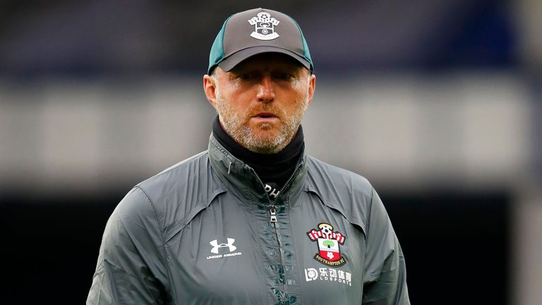 Ralph Hasenhuttl, Manager of Southampton looks on prior to the Premier League match between Everton FC and Southampton FC at Goodison Park on July 09, 2020 in Liverpool, England. Football Stadiums around Europe remain empty due to the Coronavirus Pandemic as Government social distancing laws prohibit fans inside venues resulting in all fixtures being played behind closed doors.