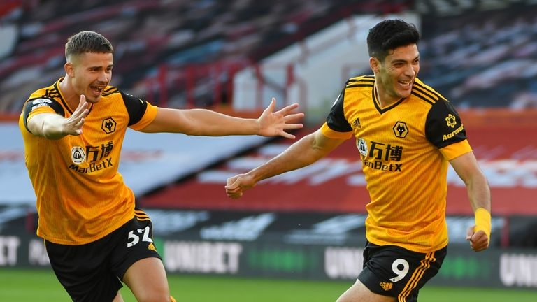 Raul Jimenez wheels away in celebration after giving Wolves the lead