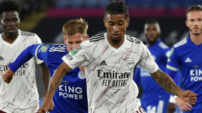 Reiss Nelson in action against Leicester in the Carabao Cup