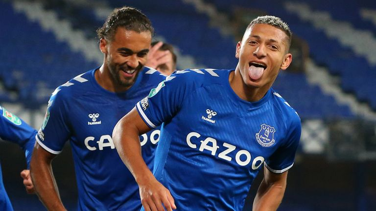 Richarlison celebrates with team-mates after scoring for Everton vs West Ham