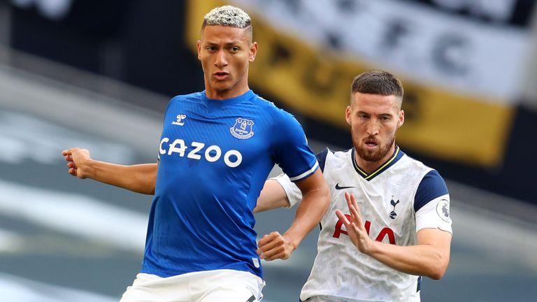 Tottenham debutant Matt Doherty gets close to Richarlison