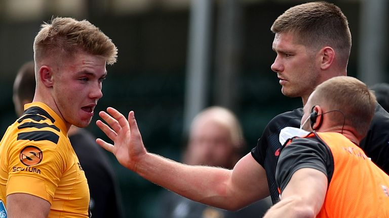 Farrell apologises to Charlie Atkinson of Wasps after being sent off for a viciously dangerous high tackle