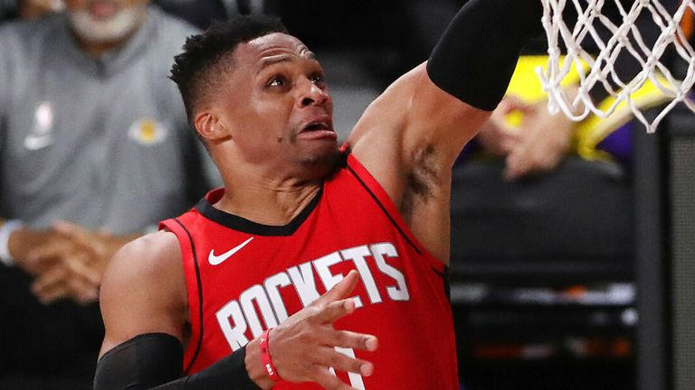 Russell Westbrook scored a team-high 25 points in the Houston Rockets' Game 4 loss to the Los Angeles Lakers