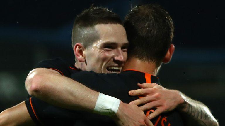 Ryan Kent celebrates doubling Rangers' lead against Willem II