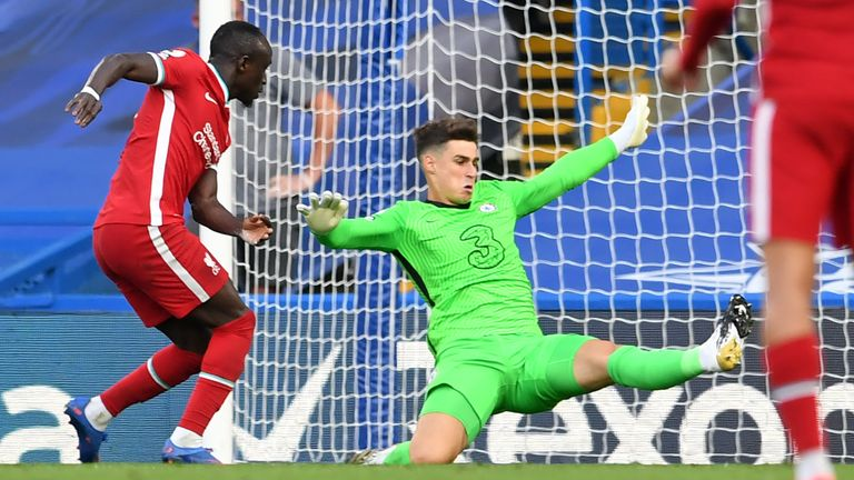 Sadio Mane reacts quickest to a mistake by Kepa Arrizabalaga to make it 2-0