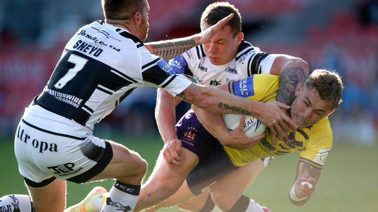Sam Powell scores Wigan's first try