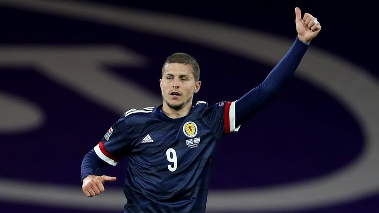 Lyndon Dykes of Scotland in action during the UEFA Nations League group stage match between Scotland and Israel at Hampden Park National Stadium on September 04, 2020 in Glasgow, Scotland.