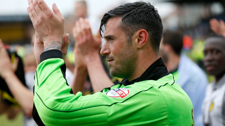 CAMBRIDGE, ENGLAND - MAY 02;  Scott Shearer during the Sky Bet League Two match between Cambridge United and Burton Albion at the Abbey Stadium on May 2nd, 2015 in Cambridge, England.