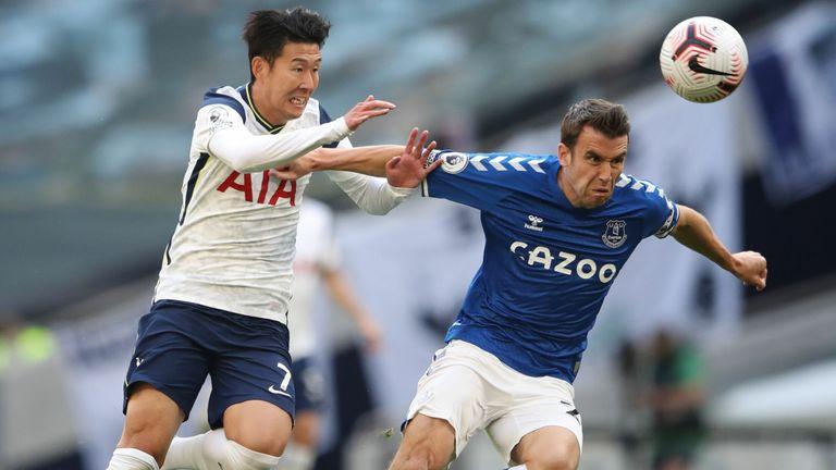 Seamus Coleman is put under pressure by Heung-Min Son on Super Sunday