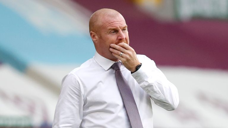 Burnley manager Sean Dyche on the touchline