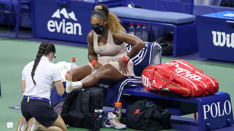 Williams needed a medical timeout to have her left ankle re-taped in the third set due to Achilles trouble