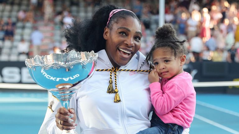 Serena Williams of the US with her daughter Alexis Olympia after her win against Jessica Pegula of the US during their women's singles final match during the Auckland Classic tennis tournament in Auckland on January 12, 2020.