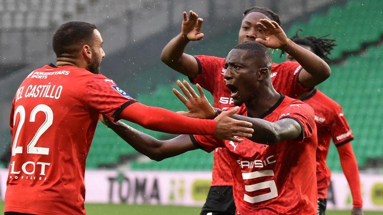 Rennes forward Serhou Guirassy celebrates