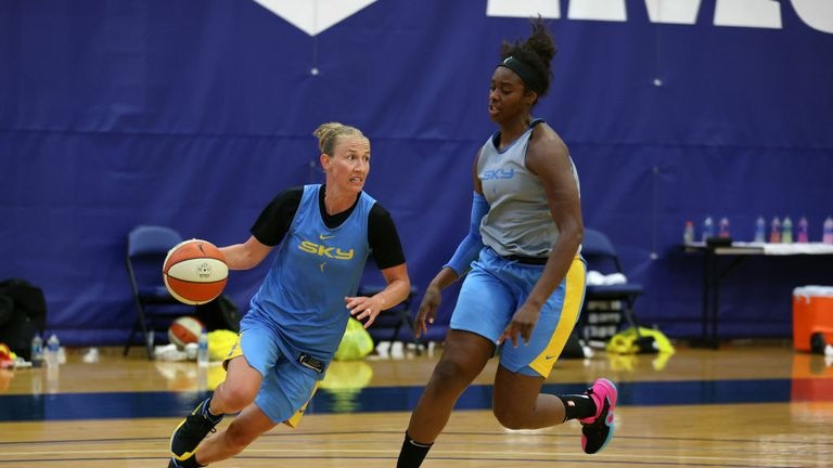 Courtney Vandersloot #22 of the Chicago Sky handles the ball against Cheyenne Parker #32 of the Chicago Sky during practice on July 12, 2020 at IMG Academy in Bradenton, Florida.