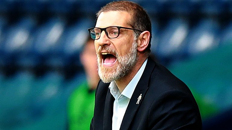 Slaven Biilic the West Browmwich Albion manager, shouts instructions during the Sky Bet Championship match between West Bromwich Albion and Hull City at The Hawthorns on July 05, 2020 in West Bromwich, England.
