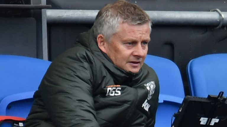 Ole Gunnar Solskjaer watches on from the stands at the Amex Stadium