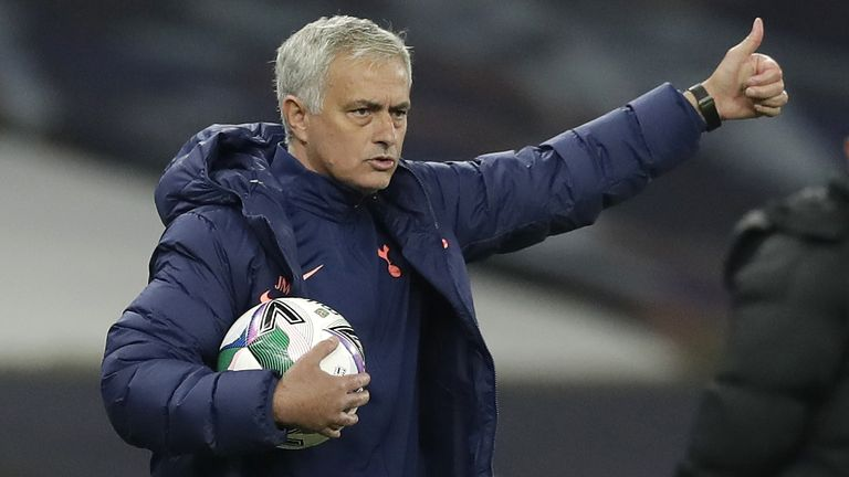 Jose Mourinho during Tottenham's Carabao Cup game against Chelsea