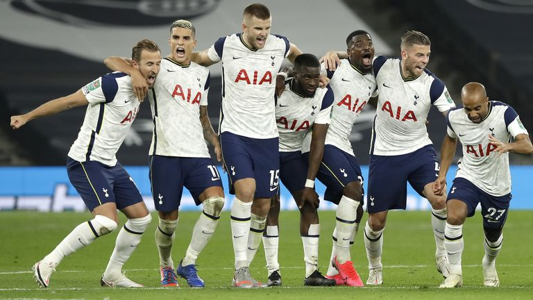 Tottenham celebrate after beating Chelsea on penalties