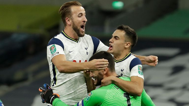 Spurs celebrate beating Chelsea on penalties in the Carabao Cup