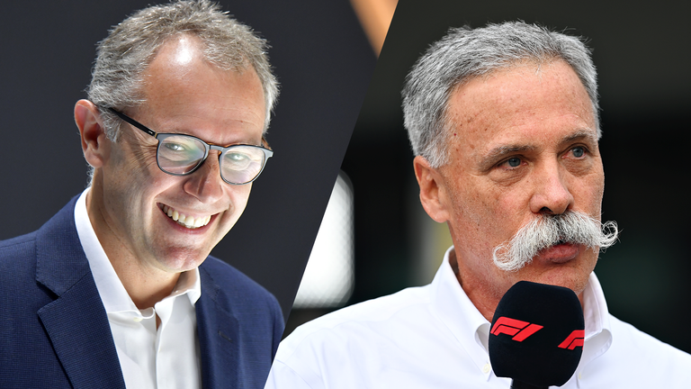 Stefano Domenicali (L) will take over as F1's day-to-day boss from Chase Carey in January 2021